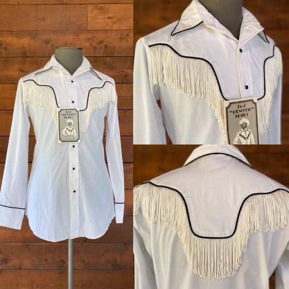 Deadstock Vintage 1970's White Fringed Western Shi