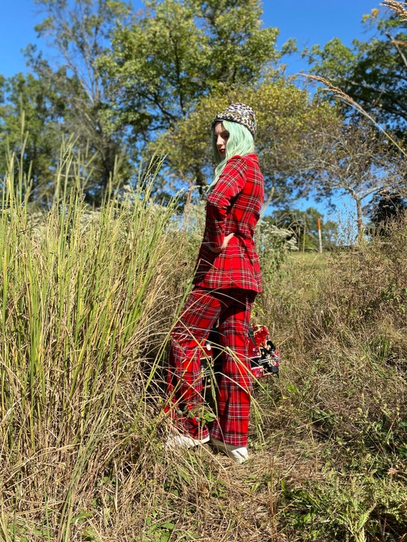 1970's Punky Red Plaid Two Piece Pant Suit - image 7