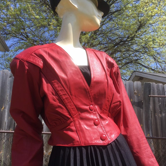 1980's Red Leather Cropped Jacket by Etsy