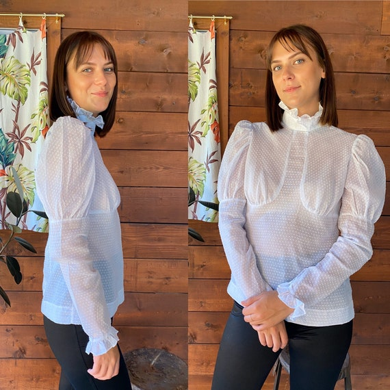 Vintage Sheer White Dotted Swiss Blouse Puffed Sho