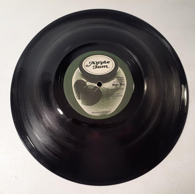 Apple Jam large smooth stretch vinyl record bowl hand made from original Apple Jam record fun unique music d\u00e9cor great music lover gift
