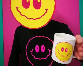 PINKY Smiley long sleeved tshirt T-shirt tee unisex men's psychedelic  gift dance rave happy face Clem Wear peta organic carbon neutral pink