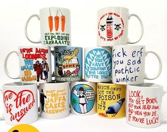 Rik Mayall Bottom 4 PACK mugs cups  funny comedy gift present work 11oz by Clem Wear mug handmade cup UK retro birthday xmas Christmas