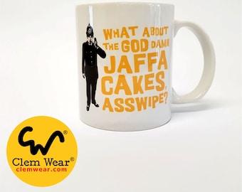 Jaffa Cakes mug by Clem Wear Bottom Rik Mayall colourful handmade funny comedy gift present work cup 11oz handmade UK retro