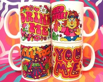 PINKY Magic Mugs cup handmade art artist trippy gift present work 11oz handmade UK Yorkshire Kingston Upon Hull Brighton graffiti colourful