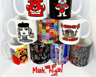 Mark Wigan mugs cup coaster handmade art artist gift UK club culture street style dance present work 11oz handmade