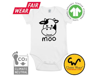 MOO COW organic cotton baby grow bodysuit babygrow vest gift present new born shower expecting birth sleepsuit romper carbon neutral