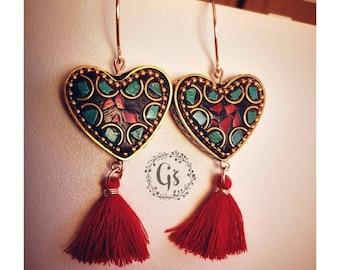 18de9ee96bdc Pendientes de corazón tibetano
