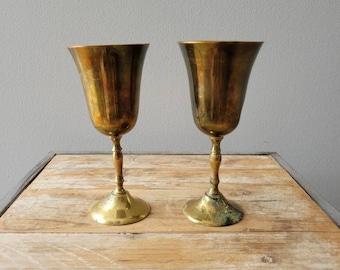 Vintage Brass Goblets. Old Metal Brass Cups. Vintage Wine Glasses.