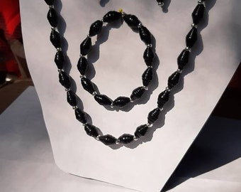 Black Necklace Bracelet & Dangling Earrings - Handmade Paper Beaded Jewelry