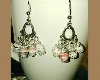 Tiny Dangling Earrings Tear Drop Handmade Paper Beaded Jewelry