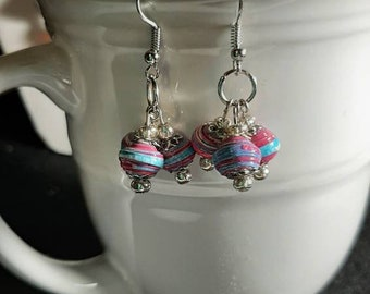 Tiny Beads Pink and Turquoise Dangling Earrings - Handmade Paper Beaded Jewelry