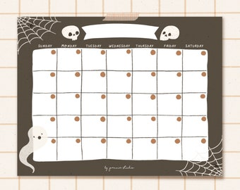Halloween Printable Monthly Planner - Digital Download Calendar