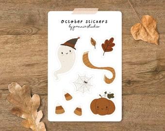 October sticker sheet ⨯ halloween stickers ⨯ autumn stickers ⨯ cottage core ⨯ Joannie Studio