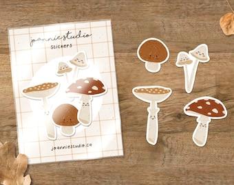 mushrooms sticker pack ⨯ autumn stickers ⨯ fall stickers ⨯ Joannie Studio Illustrations