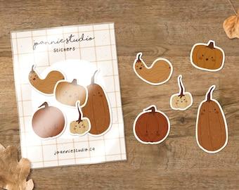 pumpkins sticker pack ⨯ halloween stickers ⨯ autumn stickers ⨯ fall stickers ⨯ Joannie Studio Illustrations