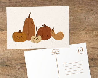 pumpkins postcard ⨯ pumpkins art print ⨯ autumn postcard ⨯ Joannie Studio Illustration