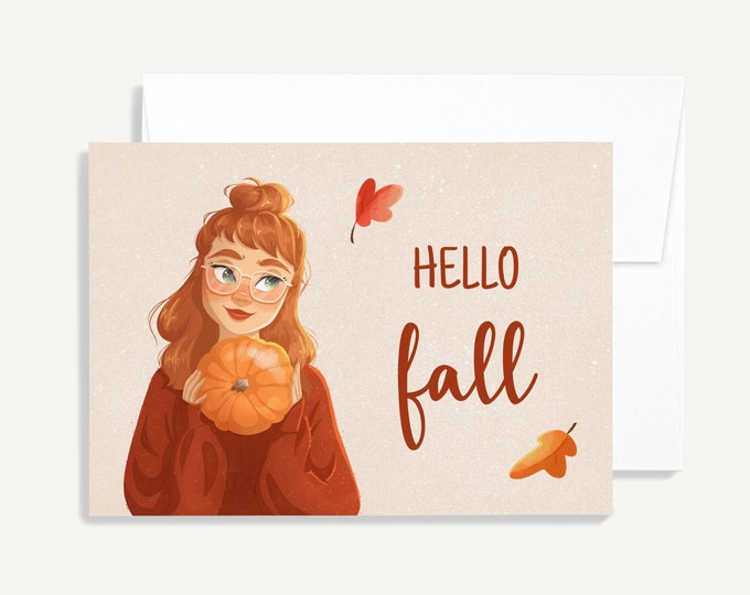 Featured listing image: GREETING CARD ⨯ Hello Fall ⨯ Joannie Studio Illustrations
