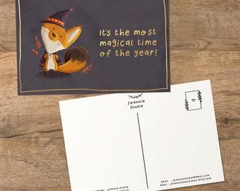 fox magician postcard ⨯ fox art print ⨯ halloween postcard ⨯ Joannie Studio Illustration
