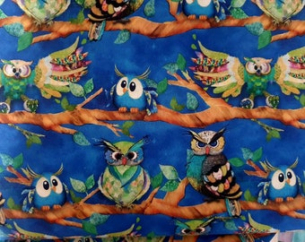 Owl fabric. Funky Owl characters sitting on branch fabric. Half metre excellent quality material for all crafting projects 100 % cotton.
