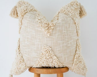 Handwoven Boho Pillow Cover: Olive