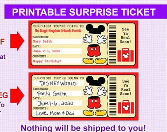 photograph about Printable Disney Tickets named Disney getaway speculate Etsy
