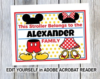 Stroller Tag {DIGITAL DOWNLOAD} Custom Beauty and the Beast Vacation Tag for your stroller Personalized
