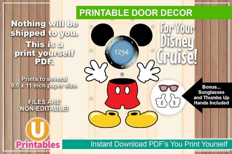 graphic relating to Disney Cruise Door Decorations Printable known as Instantaneous Obtain - Printable Disney Cruise Doorway Decorations - Print at Dwelling - Do-it-yourself Stateroom Doorways - Clic Mickey Mouse