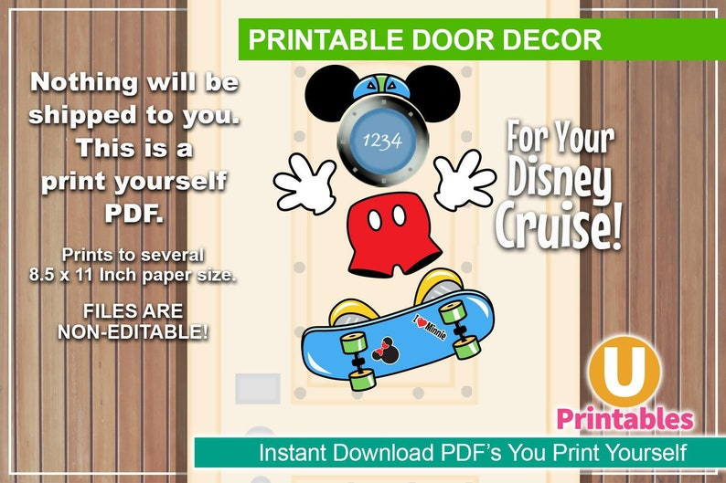graphic relating to Disney Cruise Door Decorations Printable titled Quick Down load - Printable Disney Cruise Doorway Decorations - Print at Residence Do-it-yourself Cabin Doorway Decor Increase Your Private Magnets Skateboard Mickey