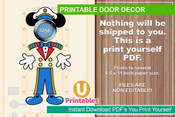 graphic about Printable Door Decorations named Quick Obtain - Printable Disney Cruise Doorway Decorations - Print at Property - Do-it-yourself Cabin Doorway Decor - Insert Your Personal Magnets - Captain Mickey