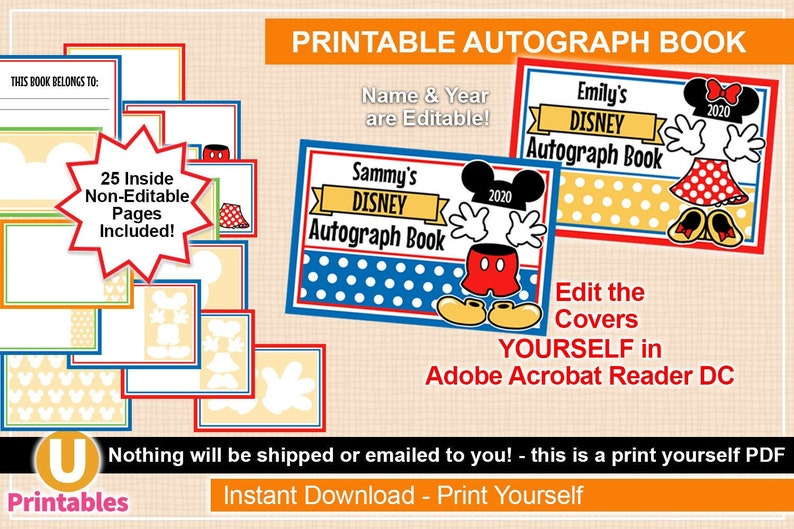 graphic about Printable Autograph Book for Students named Printable Disney Autograph Ebook - Quick Down load - Mickey Minnie - Print By yourself PDF - Customise Customise Go over Oneself - Autographs