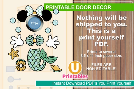 photograph regarding Disney Cruise Door Decorations Printable identified as Fast Obtain - Printable Disney Cruise Doorway Decorations - Print at Residence - Do-it-yourself Cabin Doorway Decor - Incorporate Your Particular Magnets - Mermaid Minnie