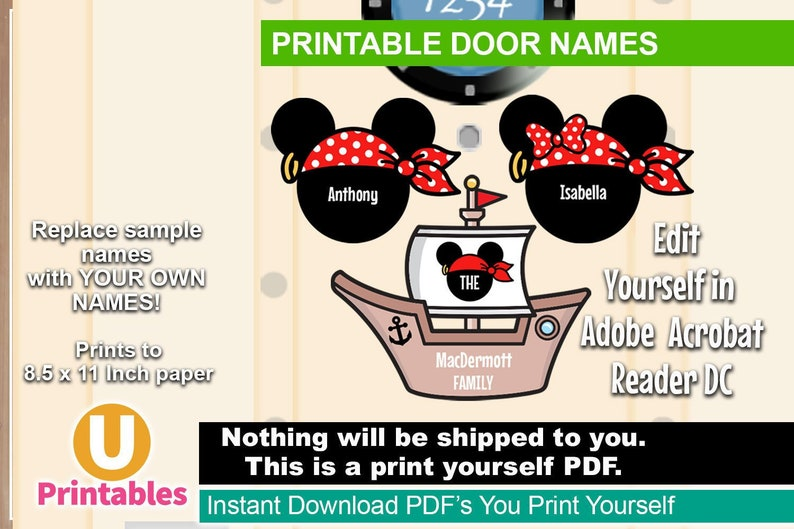 graphic regarding Disney Cruise Door Decorations Printable referred to as PRINTABLE Disney Cruise Stateroom Doorway Names - Do it yourself Print On your own Insert Your Individual Magnets - Pirate Mickey Send out Minnie Cruise Doorway Decorations