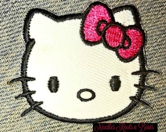 4be5db789 Hello Kitty Embroidered Iron On Applique, Hello Kitty Iron On Patch, 2