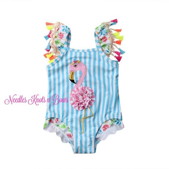 Flamingo Swimsuit, Girls One Piece Flamingo SwimSuit, Toddler Swimsuit, Girls, Sizes 1, 2, 3, 4, 5, 6, 7, Girls Swimwear, Bathing Suit