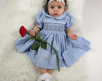 c658f68dc Hand Smocked Dress Baby Girl Outfit Photoshoot Princess Birthday Party  Wedding Floral Handmade