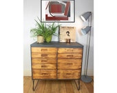 SOLD SOLD Upcycled Wood Industrial Chest Of Drawers With Steel Hairpin Legs And Liberty London Drawer Lining.