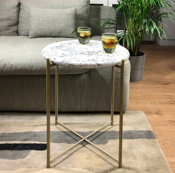 Upcycled Marble Effect Small Round Coffee Cocktail Console Table With Painted Wood Top With Metallic Matt Old Gold Legs