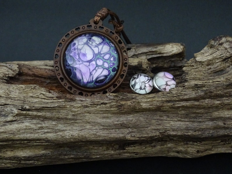 Earrings-Acrylic pour painted pendant with glass cabochon in 30mm round wood setting 12mm studs Wearable Art Pendants