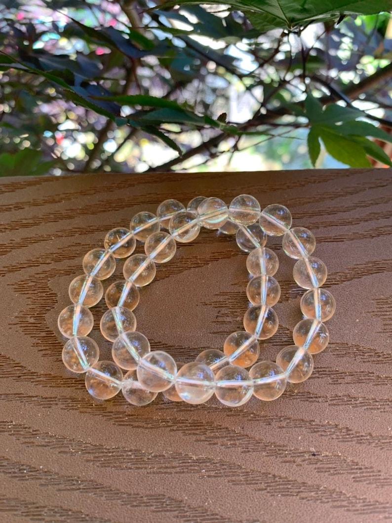 Clear Quartz Crystal Beaded Stretchy Bracelet