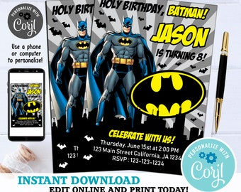 Batman Invitation Birthday Card Invite Party Printable Digital