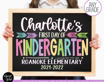 Editable First Day of School Sign, Reusable Back to School Chalkboard Poster Personalized School Chalkboard Sign Any Grade 1st Day of School