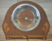 Vintage Art Deco Westminster Chimes Clock By Norland, England, Wooden Mantle Clock