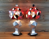 Pair of Mid Century Modern Lamps - One of a Kind Cubist Art, Stained Glass Shade Vintage FREE SHIPPING