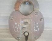 Antique FJ GRR Fonda Johnstown Gloversville Railroad Solid Brass Pad Lock Wilson Bohannon