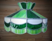 Vintage Green Stained Glass Shade Hanging Lamp Ceiling Light