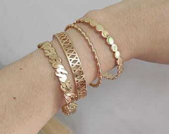 Gold Cuff Bracelet in 18k Gold Vermeil Gold Bangle Minimal Adjustable Geometric Bracelet