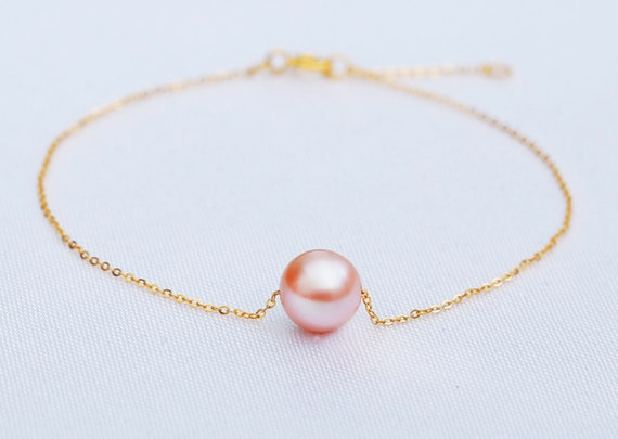 Natural High Quality Round Pearl Classy Pearl Bracelet | Grade AA Solid 18K Dainty Gold Chain 18K Gold Dainty Single Pearl Bracelet