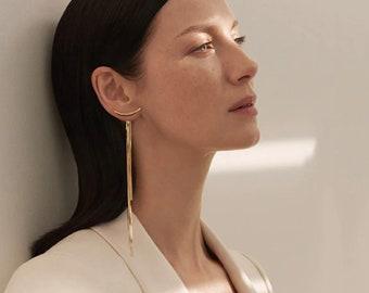 Long Geometric Ear Jackets Statement Gold Ear Jackets Bar Irregular Drop Earrings Trendy Thread Long Climbers Snake Chain Tassel Earrings