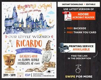 Harry Potter Invitation Magical Birthday Party Invite Boy Girl Printable Wizard